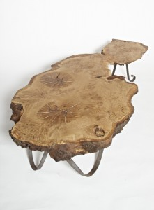 """Burl Oak Ribbon Legged Coffee Table"""