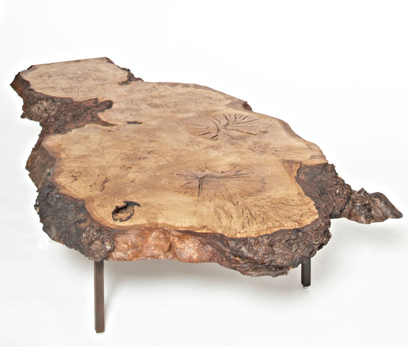 Holt Harrison Burl Oak Coffee Table Square Legs